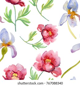 Red and blue flowers. Aquarelle wild flower for background, texture, wrapper pattern, frame or border. Watercolor hand drawn pattern with beautiful flowers and leaves on white background.
