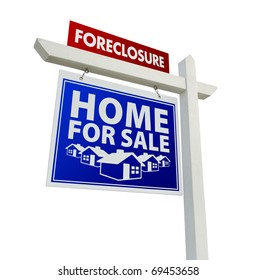 Red and Blue Foreclosure Home For Sale Real Estate Sign Isolated on a White Background.