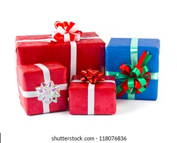 Red and blue gifts  on white background