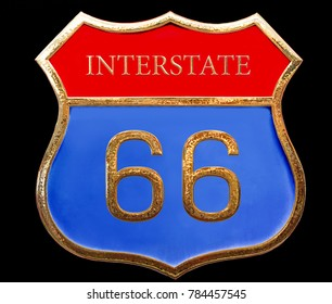 Red blue gold american road sign interstate 66 close up isolated on black background. Route 66 vintage sign. 3d illustration