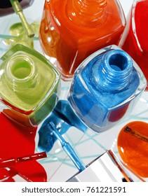 red, blue and green nail polish