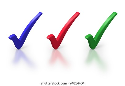 Red, blue and green ticks on white background
