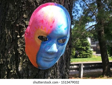 Red and blue halves painted mask hanging on neighborhood tree.