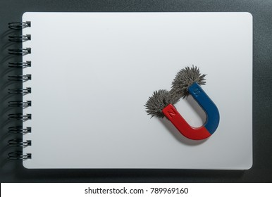 Red and blue horseshoe magnet or physics magnetic and compass with iron powder magnetic field on white paper notebook background. Scientific experiment in science class in school.