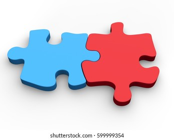 Red and blue jigsaw pieces put together - 3D Illustration