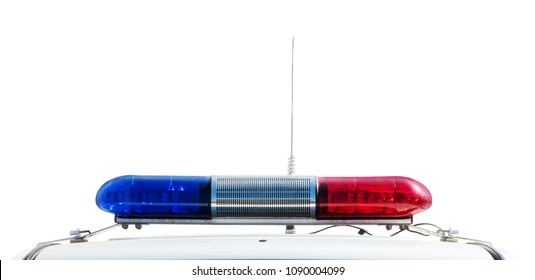 Red and blue light flasher of a police car isolated on a white background