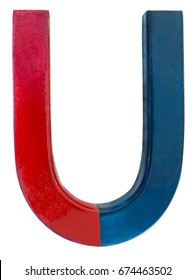 Red blue magnet isolated on a white background