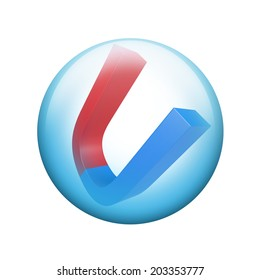 Red and blue magnet. Spherical glossy button. Web element