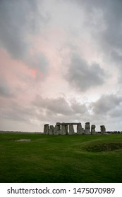 Red and blue mistic sky over the Stonehenge, England