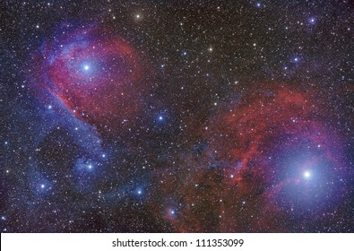 Red and Blue nebulae create a spectacular space landscape in the constellation Scorpius