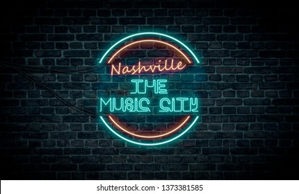 A red and blue neon light sign that reads: Nashville the Music City