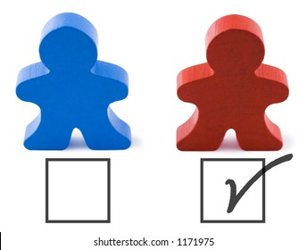 Red and blue people representing democratic and republican parties.