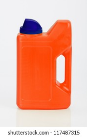 Red and blue plastic bottle on white
