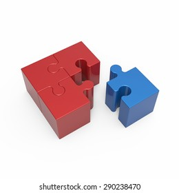 Red blue puzzle cube