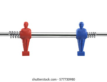 red and blue table football player on steel rod isolated on white.