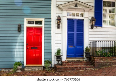 Red and Blue Wooden Front Doors in the Historic District of Alexandria, VA