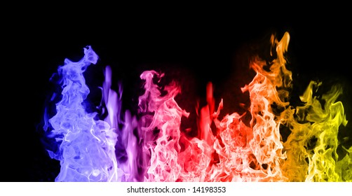 Red, Blue and Yellow flames against black