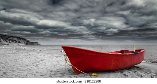 Red Boat in Black and White
