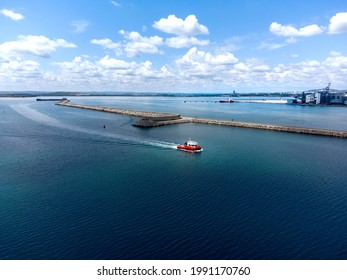 Red Boat at Marine Station Burgas, Aerial Drone Photo