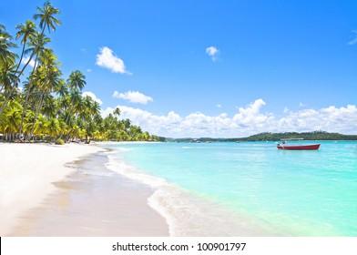Red Boat in a Tropical Beach in Brazil, Carneiros Beach, Pernambuco