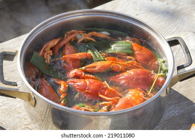 Red boiled crawfish in a pot