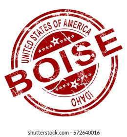 Red Boise stamp with white background, 3D rendering