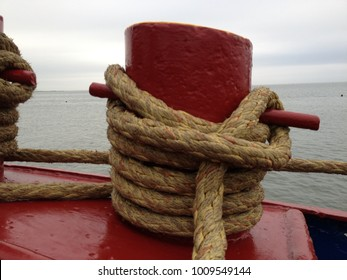 red bollard on a vessel
