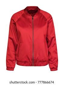 Red bomber jacket isolated on white