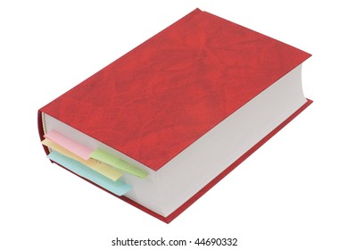 Red book with bookmarks isolated on white background