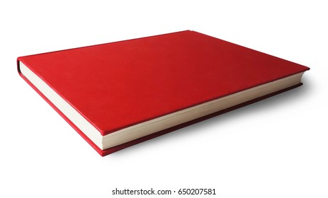 red book with copy space, isolated on white background.