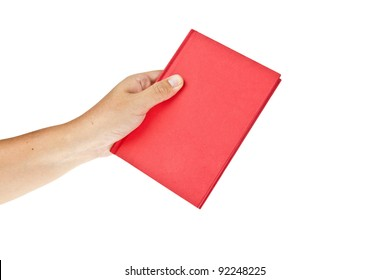 Red book with hand isolated on white background
