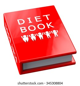 Red book with words diet book, isolated on white background.