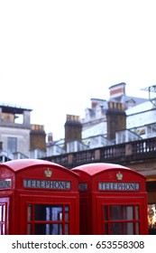 Red booth of telephone in LONDON