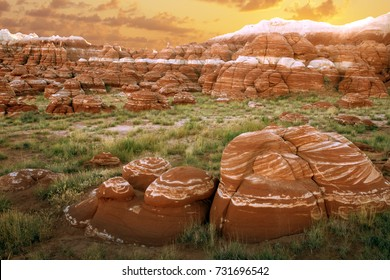 Red boulders with white stripes at sunset, Blue Canyon, Hopi Indian Reservation, Arizona