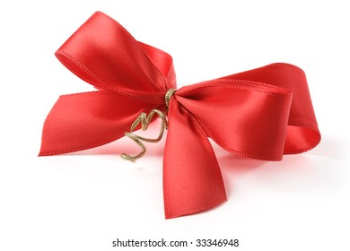 Red bow against white background
