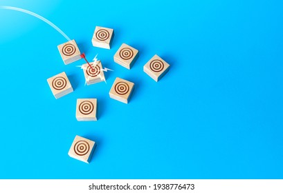 Red bow arrow hits a target circle. Direct shot, Bulls-eye. Marketing, successful targeting, high advertising efficiency in a target audience. Accuracy, budget savings on promotion. Market research.