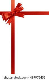 Red bow christmas gift ribbon vertical