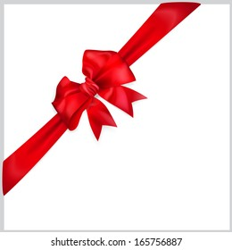 Red bow with diagonally ribbon. Raster version.