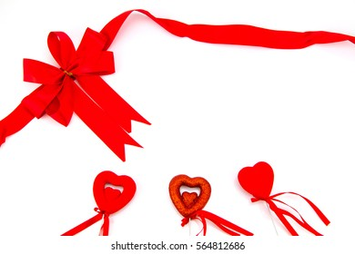 red bow and gift box. Valentine concept