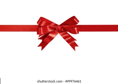Red bow gift ribbon straight horizontal