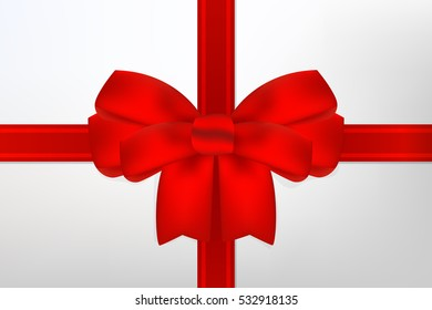 Red bow for gift wrapping. With the New Year and Merry Christmas. Celebration.