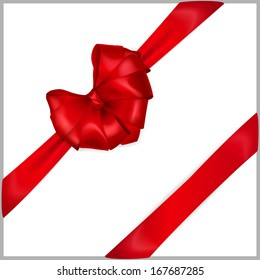 Red bow heart shaped with diagonally ribbons. Raster version.