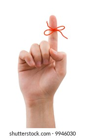 Red bow on finger, isolated on white background