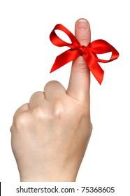 red bow on finger over white background