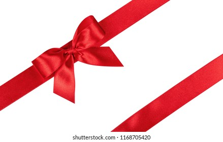 Red bow, ribbon. Isolated on white background.