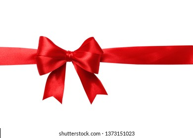 Red bow and ribbon isolated on white background. Insulation.