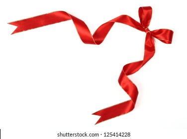 red bow ribbon on white background