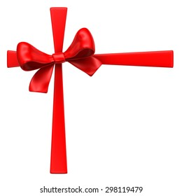 Red bow with ribbons on white background.