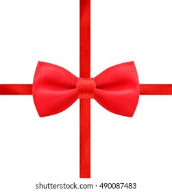 red bow in white background clipping path