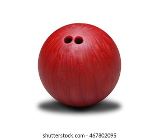 Red bowling ball isolated on white background.
